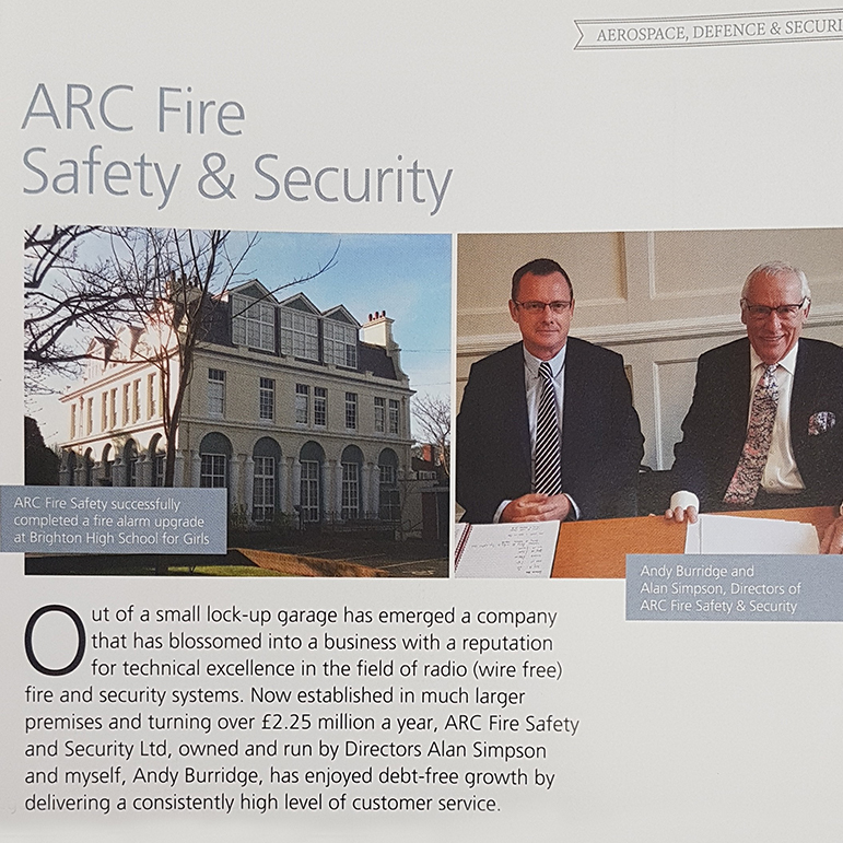 ARC Fire Safety & Security  featured in this years Parliamentary Review